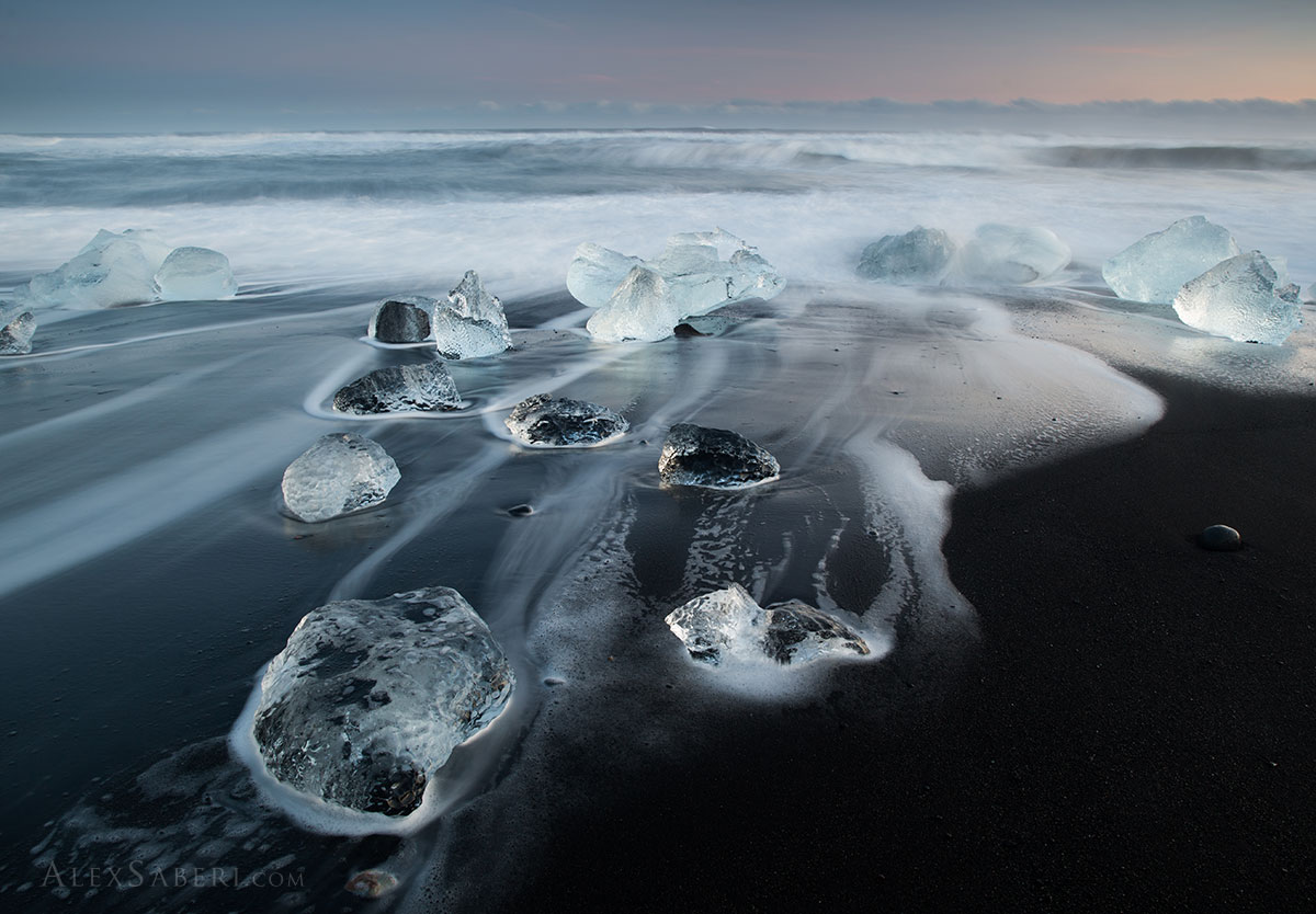 Icebergs on the black beach in Iceland