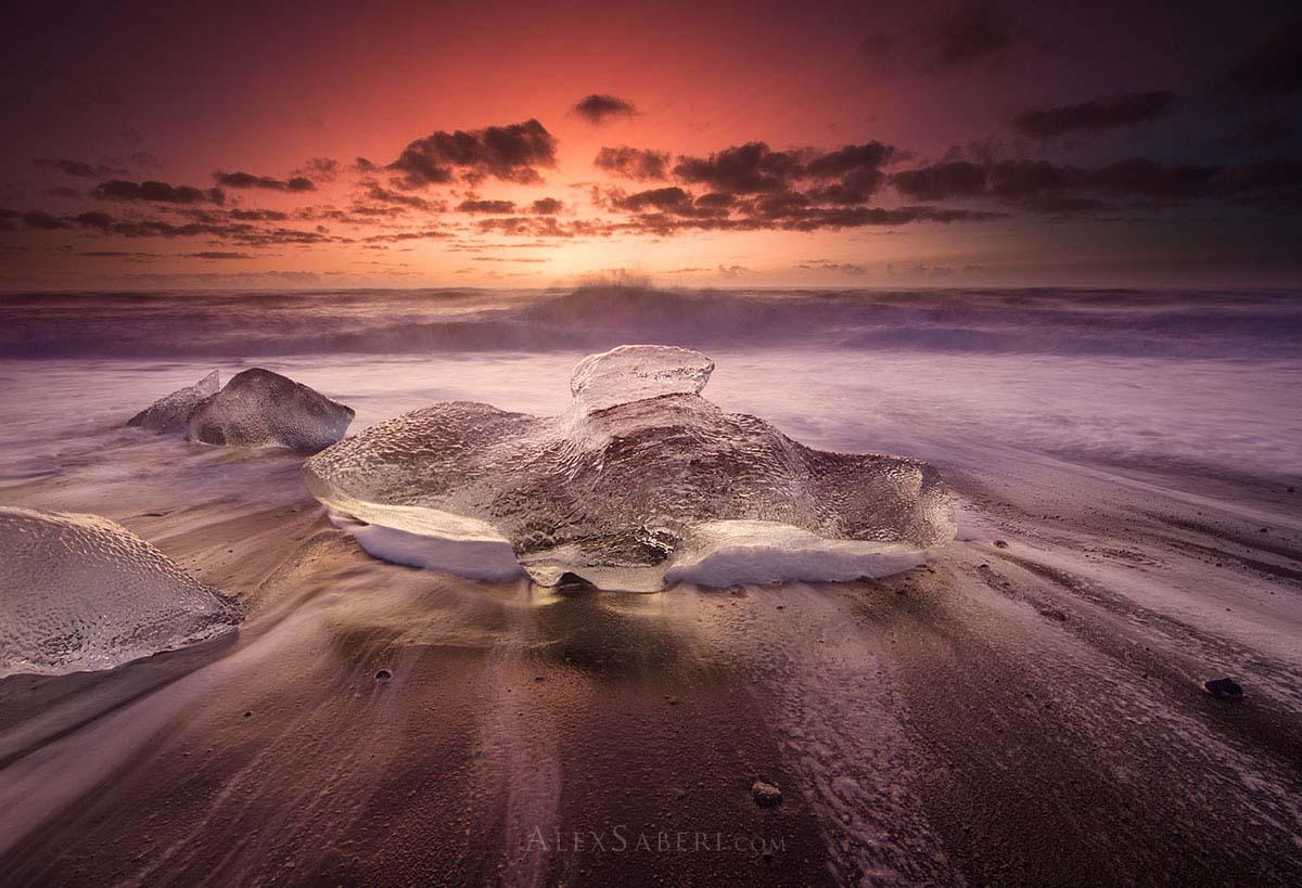 Icebergs on the black beach in Iceland