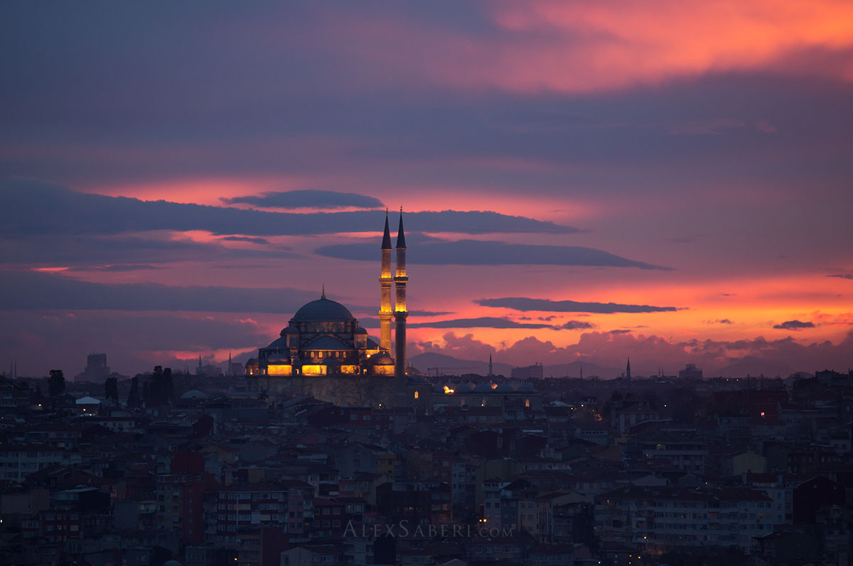 The Istanbul Minerets at sunset