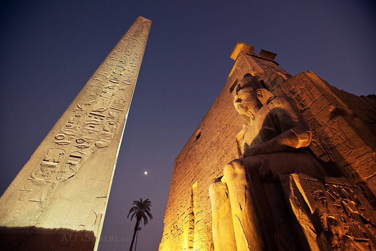 Luxor Temple at dusk in Egypt